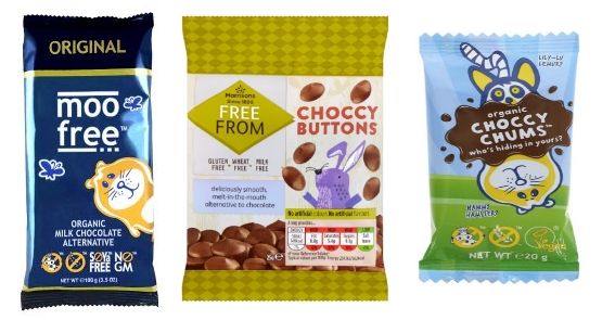 Moo Free Original Milk Chocolate, Moos' Choccy Chums and Morrison's Free From Choccy Buttons